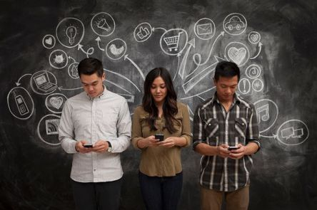 People-on-phones-with-social-media-icon-chalkboard